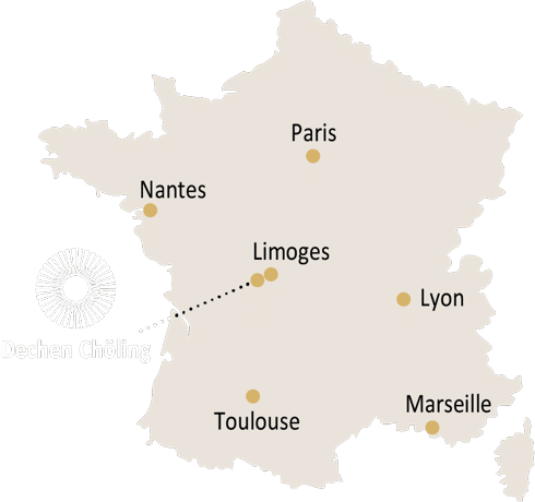 Map of France with Dechen Chöling